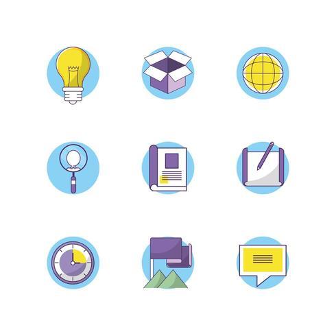 documenten informatie strategie en chat bubble pictogrammen instellen vector