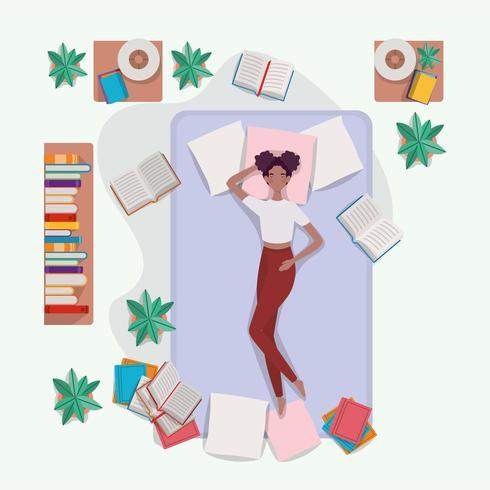 jonge vrouw ontspannen in matras in de slaapkamer vector