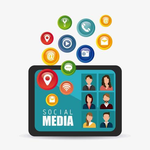 Social media iconen en avatars vector