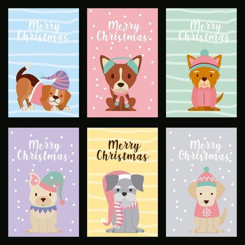 Set hond kerstkaarten vector