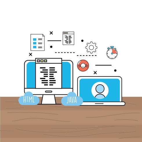 computer en laptop website proces- en programmeertechnologie vector