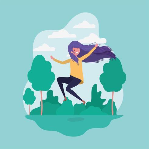 meisje springen in het park vector