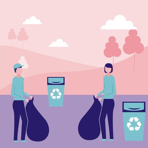 Vrijwilligers helpen recyclen vector