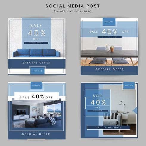 Meubilair marketing postontwerp van sociale media vector