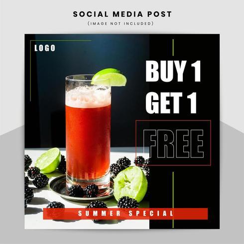Eten en drinken promotionele webbanner ontwerpsjabloon vector