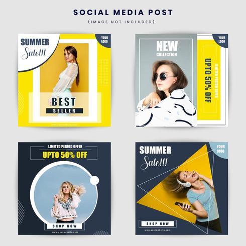 Geometrische sociale media post ontwerpsjabloon vector