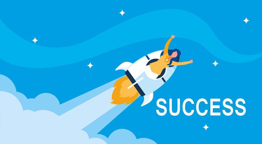 succesvolle zakenvrouw vieren met raket vector