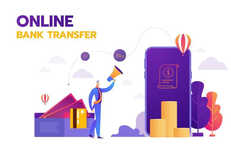 Online bestemmingspagina voor bankoverschrijvingen vector