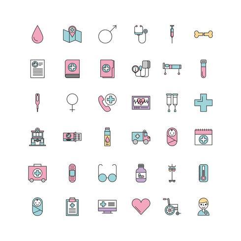 set van medische geneeskunde wetenschap thema pictogrammen vector