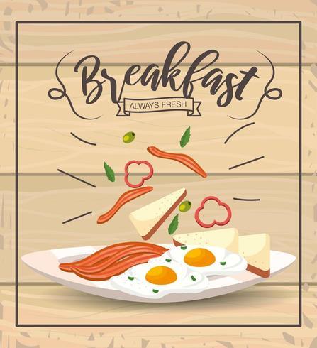 gebakken eieren met bacons tot heerlijk ontbijt vector