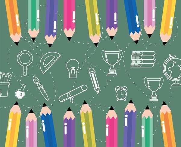 kleurrijke potloden met gradenboog, boeken en benodigdheden vector