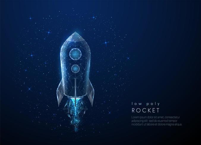 Abstactraket die in de ruimte vliegt. Laag poly-stijl ontwerp vector