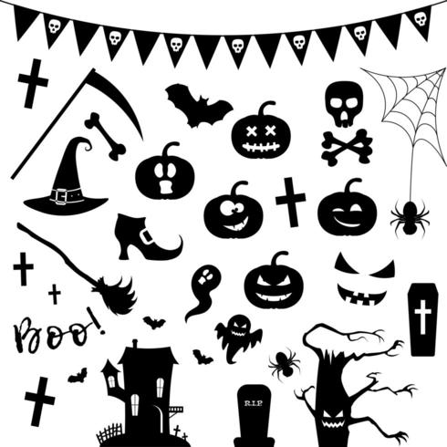 Halloween silhouet icon set. vector