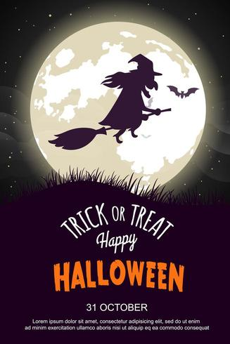 Halloween-feestaffiche met heks die op bezem berijdt vector