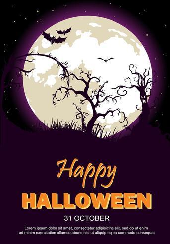 Halloween-feestaffiche met maan, bomen en vleermuizen vector