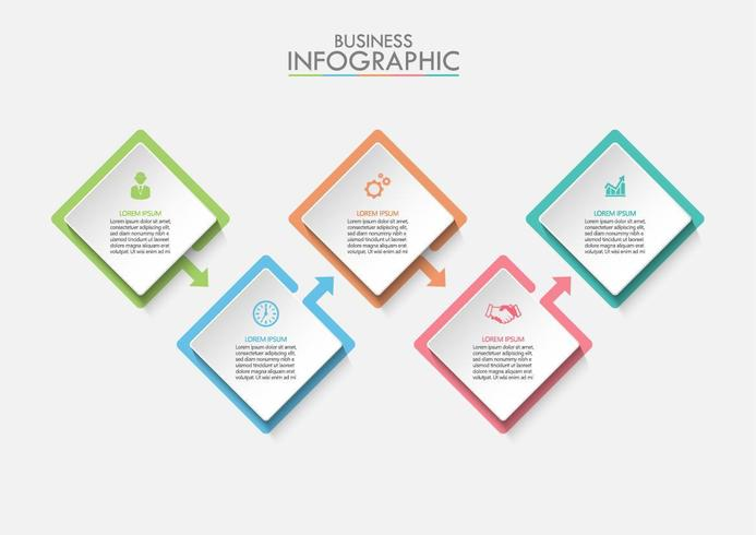 Zakelijke vierkante infographic sjabloon vector