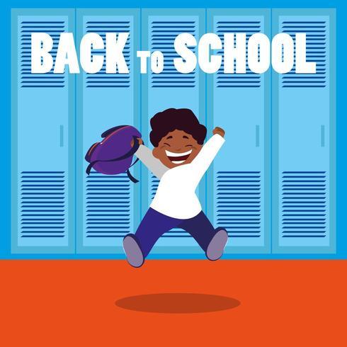 gelukkige student terug in schoolzaal vector