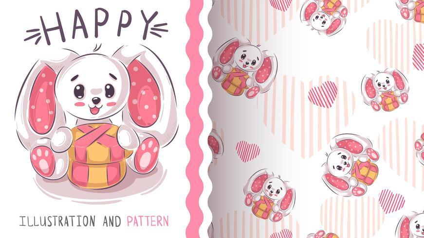 Grappig teddy konijn - naadloos patroon vector