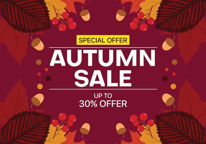 Herfst verkoop achtergrond met bladeren, noten en fruit vector