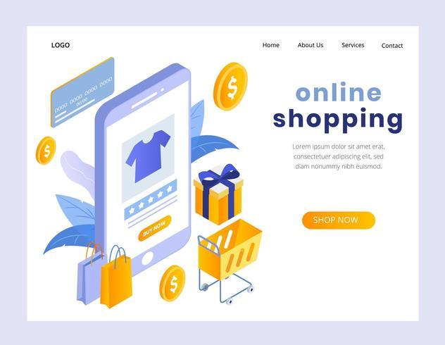 Isometrisch concept van online winkelen bestemmingspagina vector
