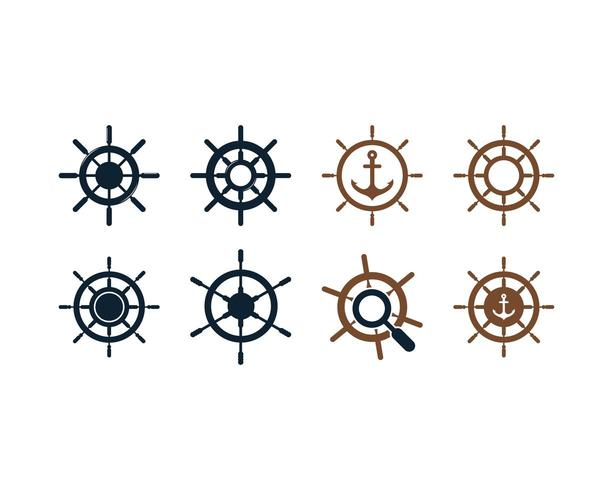 Schip wiel icon set vector