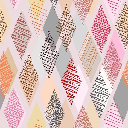 Kleurenkrabbel in ruitvorm met naadloze achtergrond vector