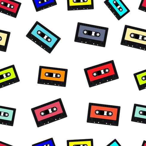 Compacte audiocassetteband naadloze achtergrond vector