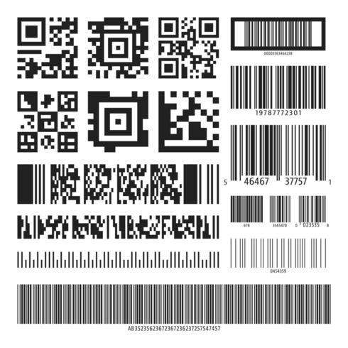 Barcode en QR-codeset vector