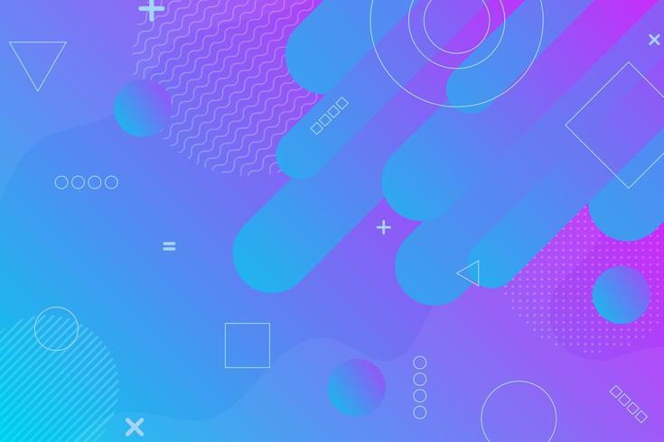 Heldere blauwe en paarse gradiënt geometrische vormen vector
