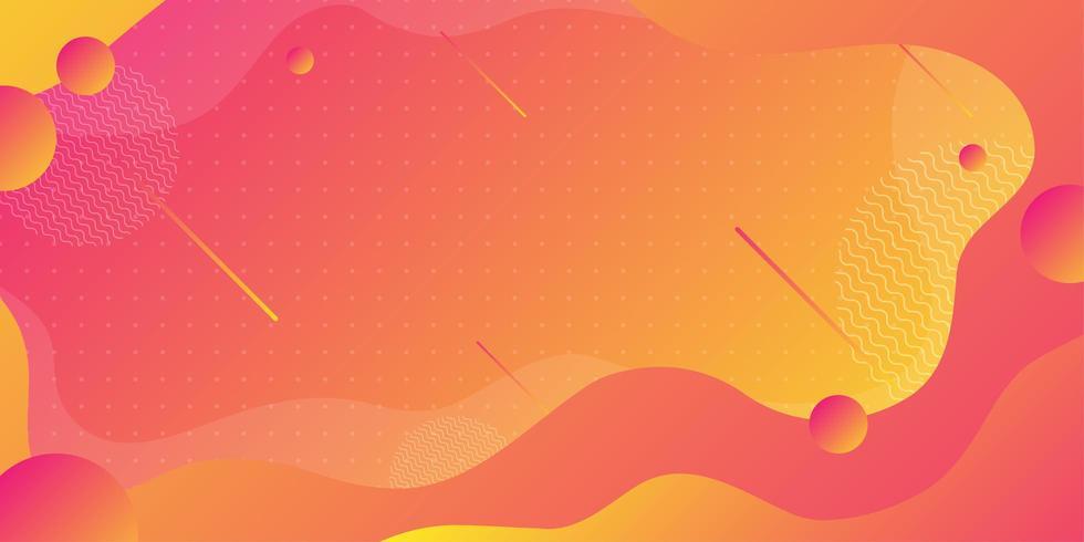 Helder oranje en rode abstracte vloeiende vormen vector
