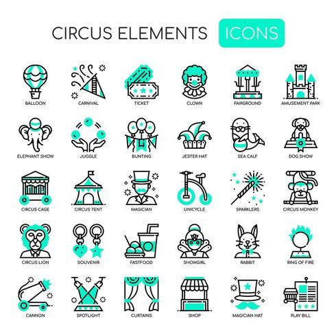 Circuselementen, dunne lijn en pixel perfecte pictogrammen vector