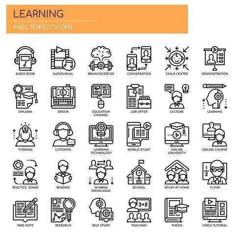 Leerelementen, dunne lijn en pixel perfecte pictogrammen vector