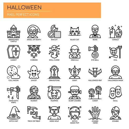 Halloween-elementen, dunne lijn en pixel perfecte pictogrammen vector