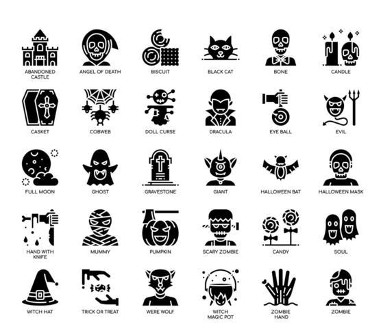 Halloween-elementen, Glyph-pictogrammen vector