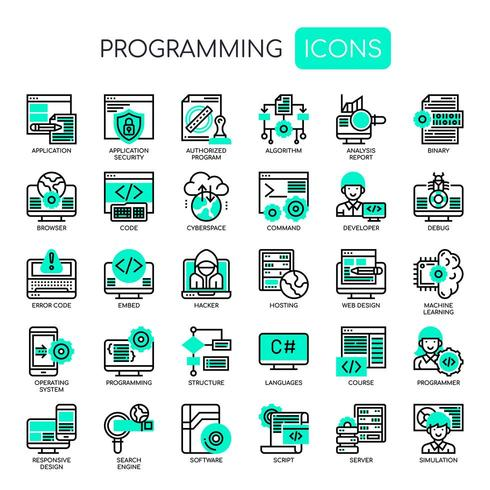 Programmering, dunne lijn en pixel perfecte pictogrammen vector