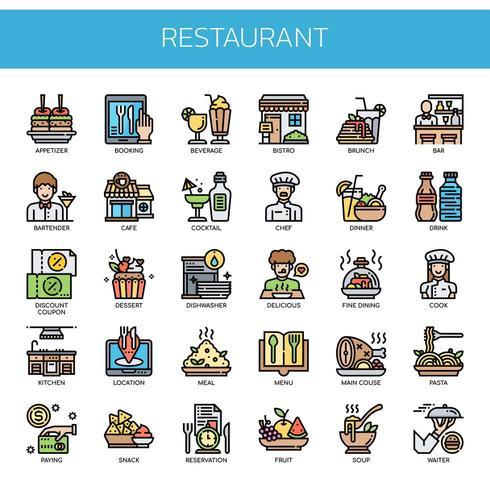 Restaurantelementen, dunne lijn en pixel perfecte pictogrammen vector