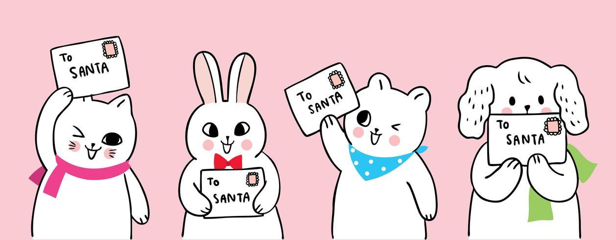 Cartoon schattige kerst dieren en brief aan de kerstman vector
