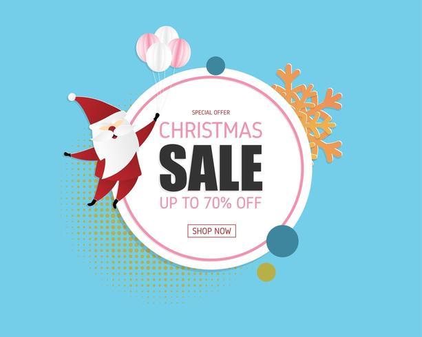 Kerst verkoop banner in papier gesneden stijl vector