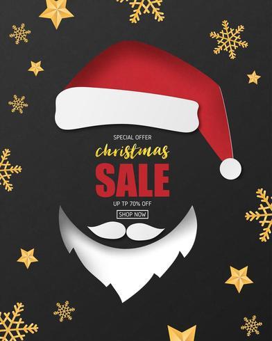 Kerst banner ontwerp in papier gesneden stijl vector
