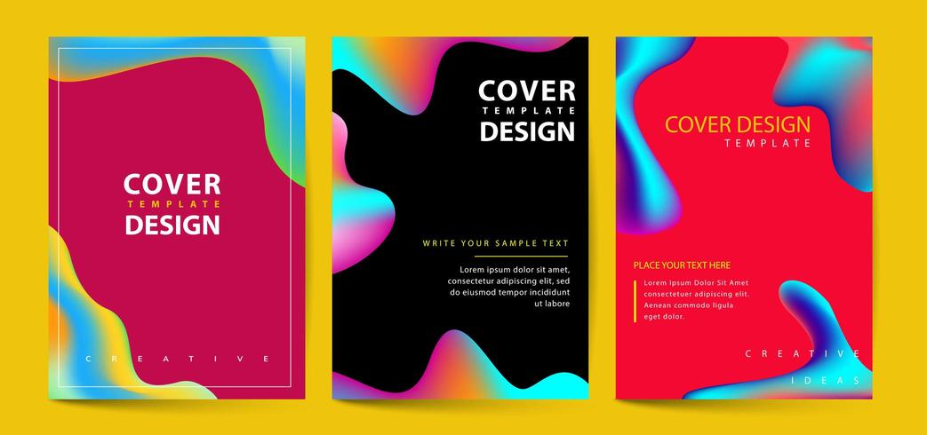 Vloeibare kleur covers ingesteld vector