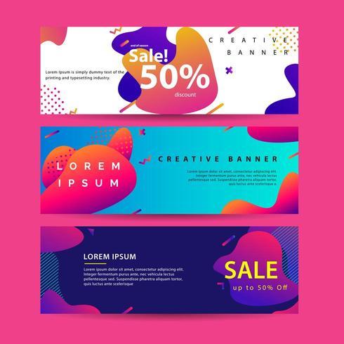 Horizontale banner instellen met moderne kleurrijke vloeistof element websjabloon vector