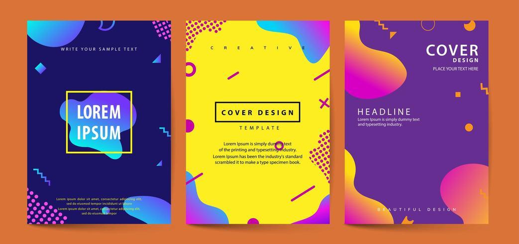 Vloeibare vormen poster covers ingesteld met moderne hipster en memphis achtergrond vector