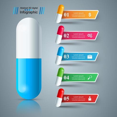 Pil, tablet, geneeskunde pictogram, gezondheid zakelijke infographic. vector