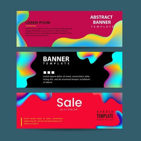 Horizontale banners instellen met kleurrijke vloeibare vormen vector