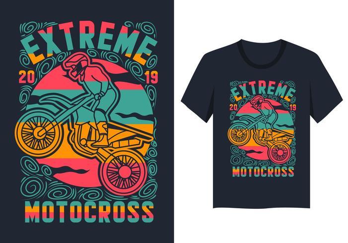 extreem motocross kleurrijk t-shirtontwerp vector