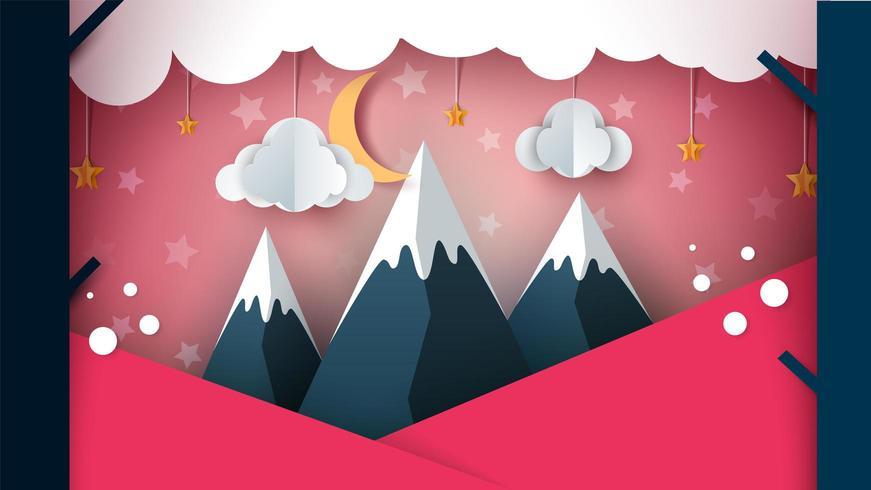 Papierberg - cartoon landschap. Wolk, maan, berg, boom. vector