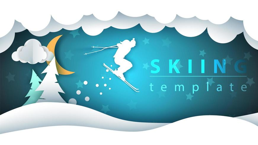 Papier cartoon landschap. Skiën illustratie. vector
