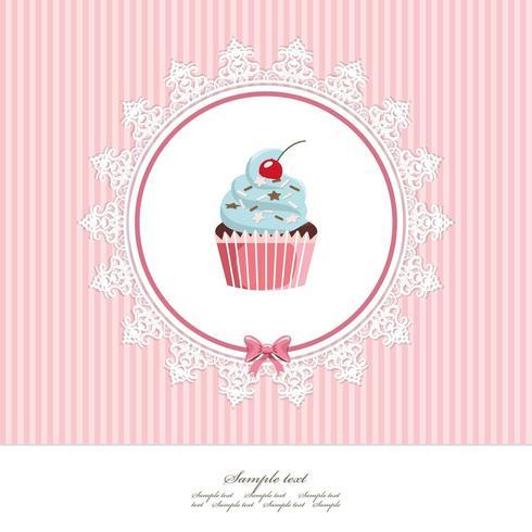 Wenskaartsjabloon met cupcake vector
