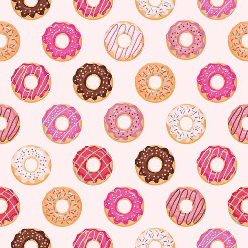 Naadloos patroon met geglazuurde donuts. vector