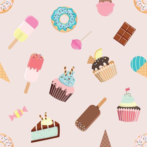 Verjaardag naadloos patroon met verschillende snoepjes. vector